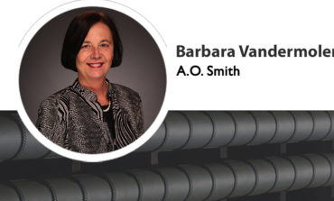 Barb VanderMolen, A. O. Smith vice president-finance, receiving recognition with a Women in Manufacturing STEP Ahead Award